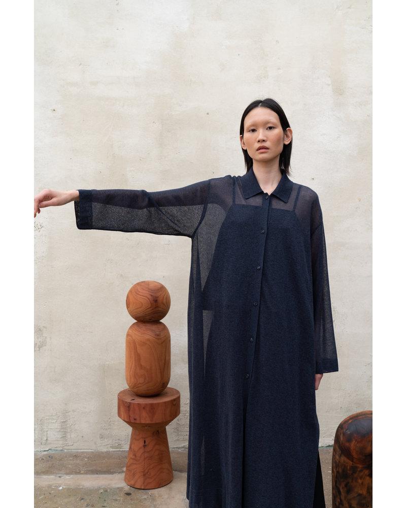 Le 17 Septembre Sheer knit Long Shirt - Navy