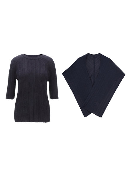 Le 17 Septembre Wrinkle top + Muffler - Navy