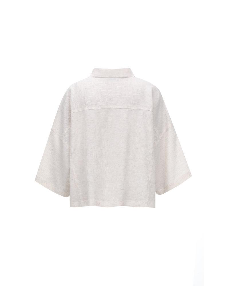 Le 17 Septembre Collar Crop Shirt - Ivory