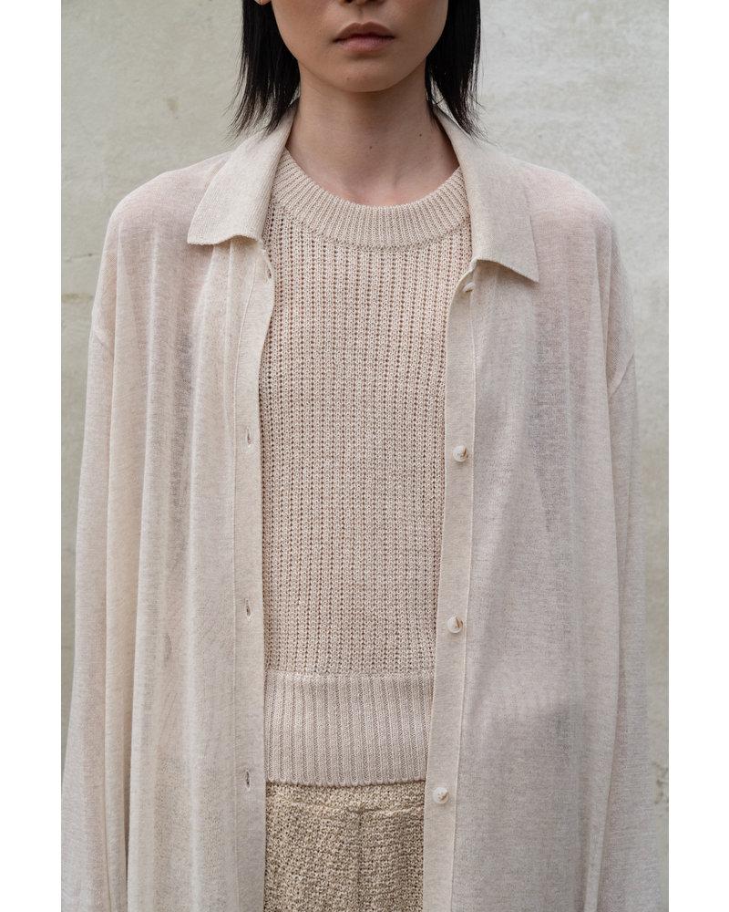 Le 17 Septembre Sheer knit Long Shirt - Beige