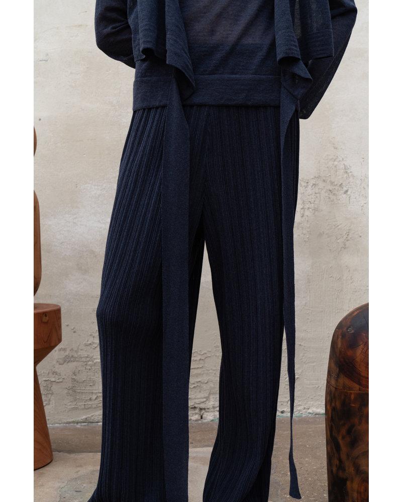 Le 17 Septembre Wrinkle Knit Pants - Navy