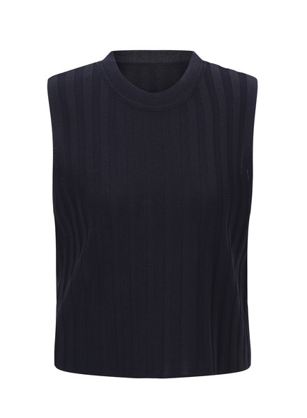 Le 17 Septembre Ribbed sleeveless knit top - Navy