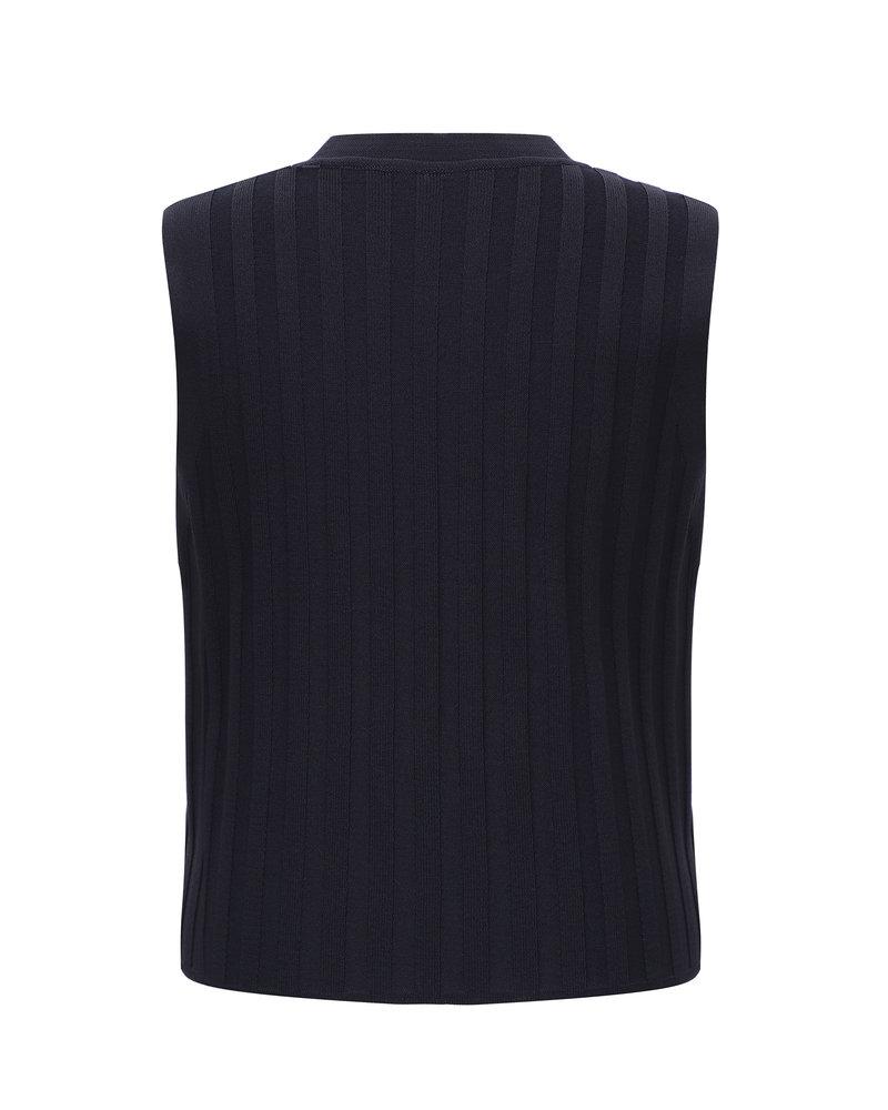 Le 17 Septembre Ribbed sleeveless knit top - Navy