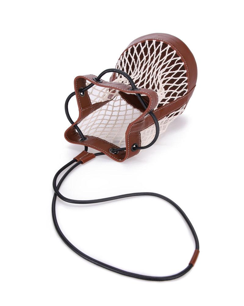 Le 17 Septembre Raffia leather cross bag - Brown