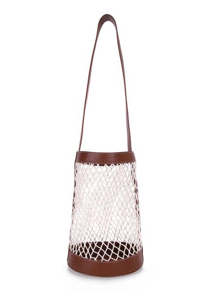 Le 17 Septembre Raffia leather shoulder bag - Brown
