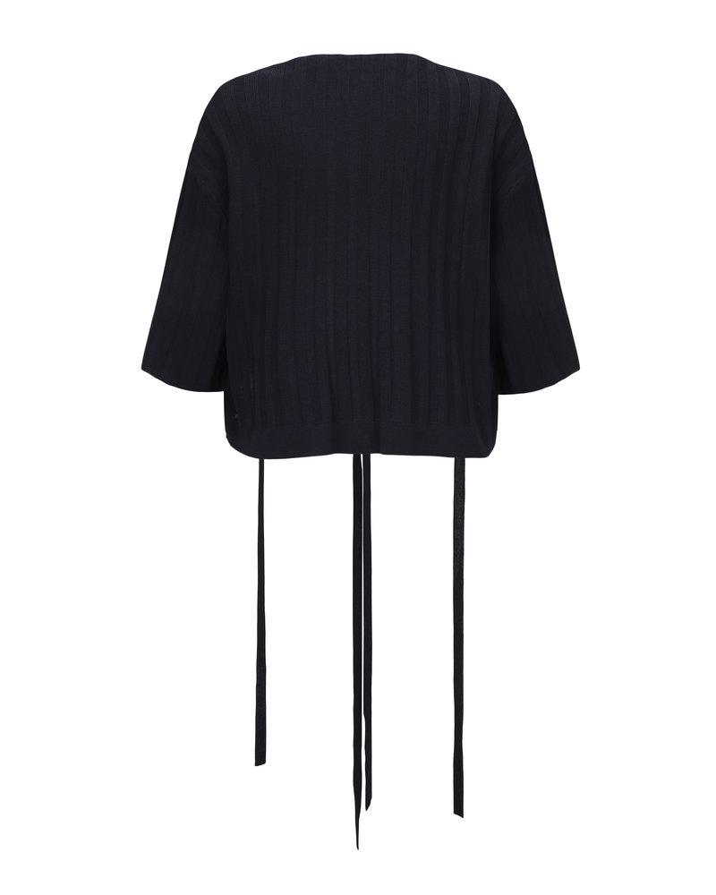 Le 17 Septembre Short sleeve wrap knit cardigan - Navy