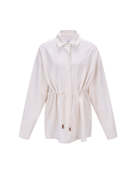 Le 17 Septembre Waist string Linen Jacket - Ivory