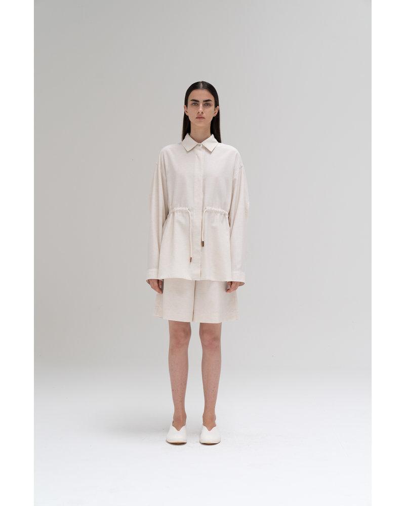 Le 17 Septembre Linen easy short Pants - Ivory