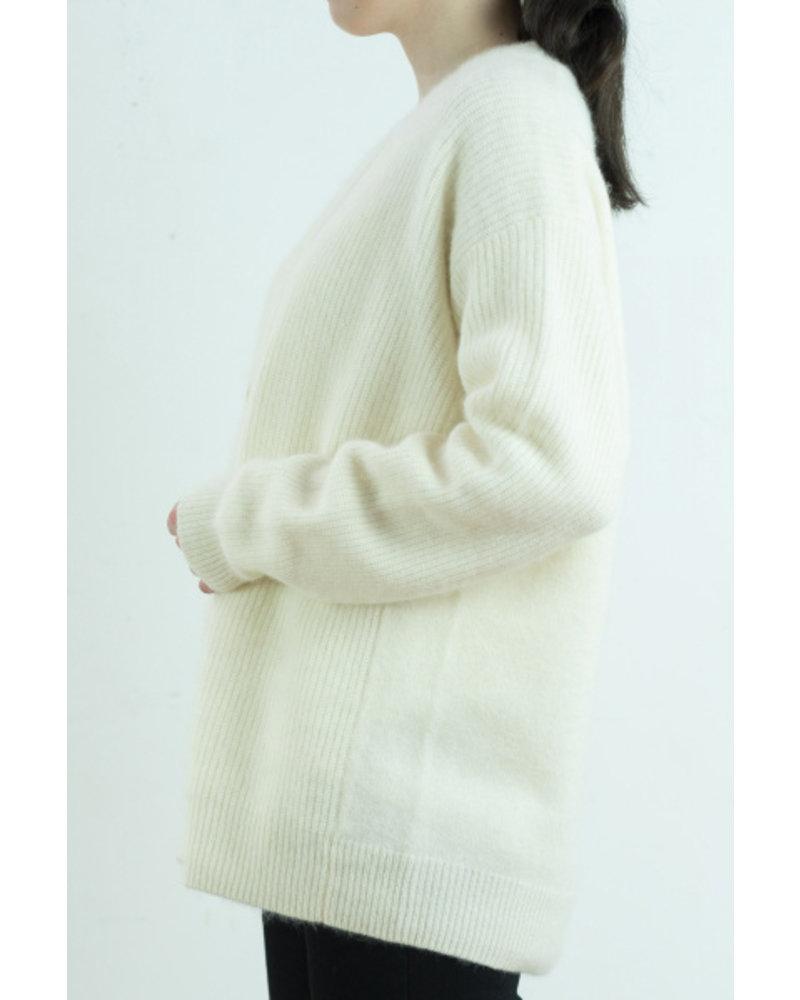 CT Plage Raccoon rib cardigan - White