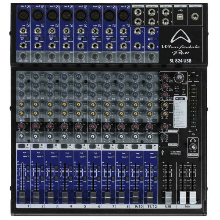 WHARFEDALE SL824/USB Rack mountable mixer with FX & USB Interface