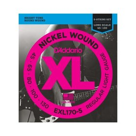 D'addario D'addario EXL170-5 5 String Bass Guitar Strings, Light 45-130, Long