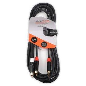 STAGECORE iCore215LU5 5m 3.5mm Stereo Mini Jack Plug - 2 x Male RCA Phono Plugs,