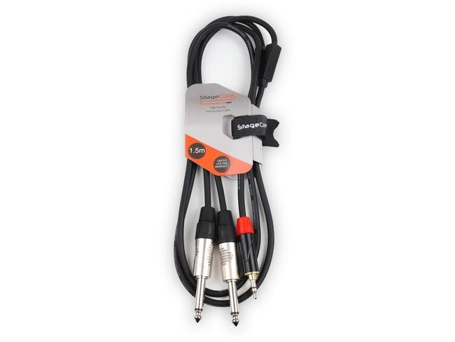 STAGECORE iCORE170LU15 1.5M 3.5mm Stereo Mini Jack Plug - 2 x 6.35mm Mono Jack Plugs