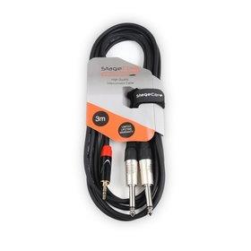 STAGECORE 3M 3.5mm Stereo Mini Jack Plug - 2 x 6.35mm Mono Jack Plugs
