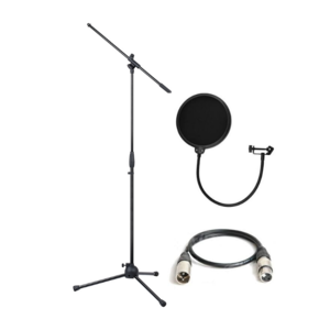 Studio accessory pack - Boom stand, pop sheild and 3m XLR cable