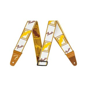 "Fender Fender Weighless™ 2"" Monogrammed Strap, White/Brown/Yellow"