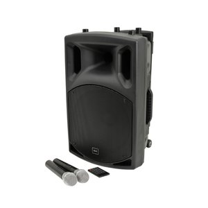 Hire of: Portable Battery Powered Speaker with 2 radio mics and stand