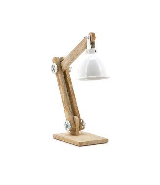 By-Boo Tischleuchte Davinci - Weiß mit Holz