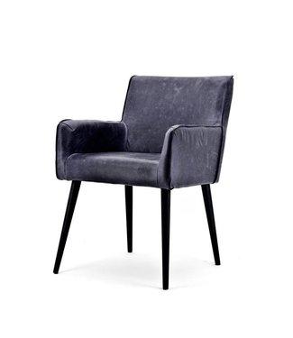 Stuhl Sascha mit Armlehne - schwarz Cerato Leder