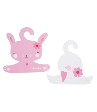 A Little Lovely Company Coat hanger set: Bunny & swan