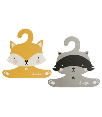 A Little Lovely Company Coat hanger set: Raccoon & fox