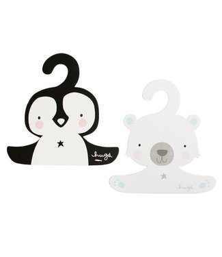 A Little Lovely Company Coat hanger set: Penguin & polar bear
