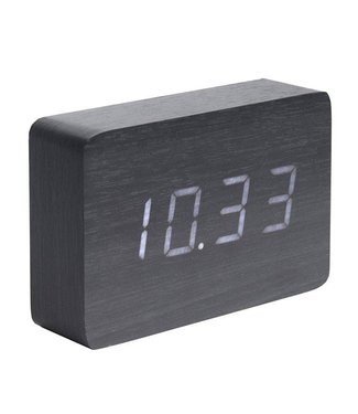 Karlsson Wecker Uhr Wood Square Black