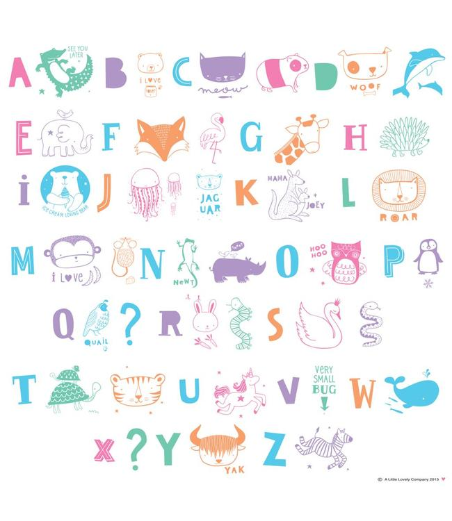 A Little Lovely Company Lightbox letter set ABC pastel