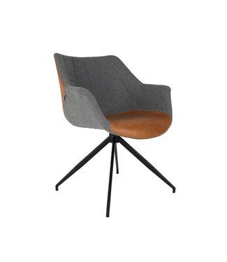 Zuiver Stuhl Doulton Grau/Cognac