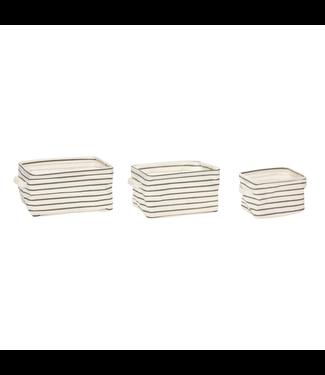 Hübsch Korb m Muster, Griffen, viereckig, Stoff, grau/weiß, 3er Set