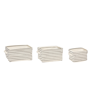 Hübsch Korb viereckig Stoff grau/weiß, 3er Set