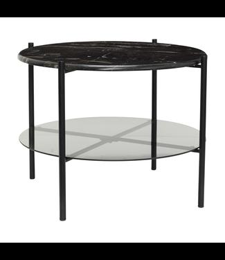 Hübsch Tisch Metall/Marmor/Glas schwarz