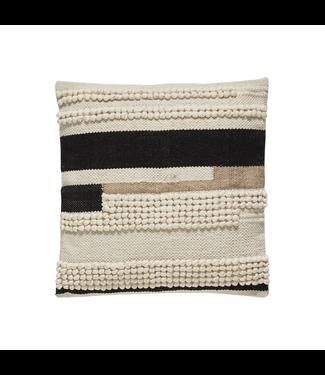 Hübsch Kissen baumwolle weiß/schwarz/braun 45x45 cm