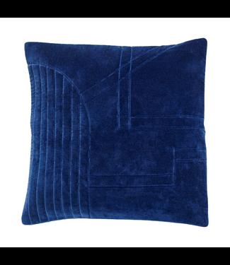 Hübsch Kissen Velour blau 50x50cm