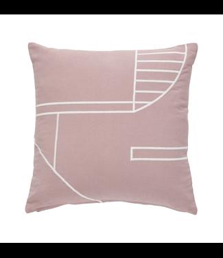 Hübsch Kissen Baumwolle pink/weiß 45x45cm