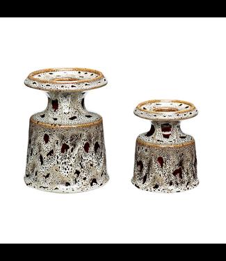 Hübsch Kerzenständer Set 2 ST. Weiß/ Braun