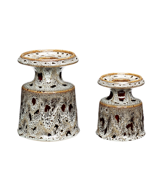 Hübsch Kerzenständer braun/weiß ø8xh9/ø9xh12cm