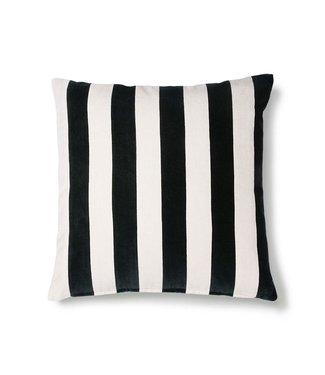 HKliving Kissen gestreift Samt schwarz / weiß (50x50)