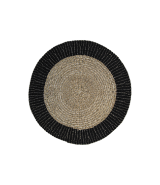 Teppich Mailbu - ø120 cm - Bast / Seegras - natur / schwarz