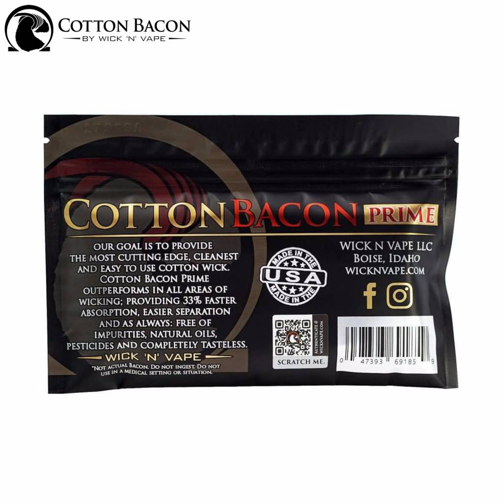 Wick N' Vape Cotton Bacon Prime Watte