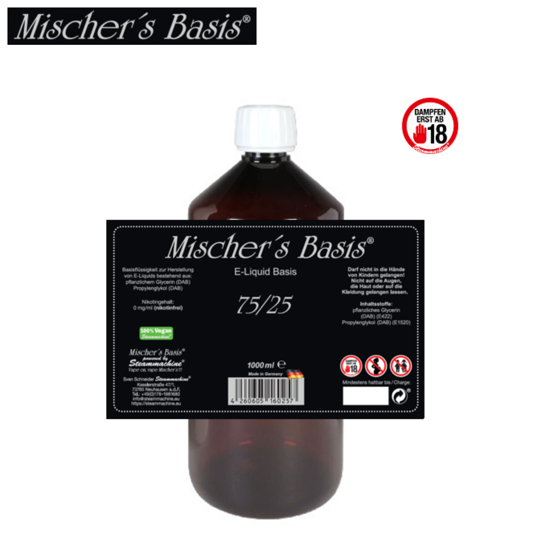 Mischer´s Basis Base 75 VG / 25 PG 1000 ml