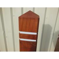 thumb-Potelet anti-stationnement bois azobé tête diamant 15 x 15 x 140 cm + 2 bandes réfléchissantes-2