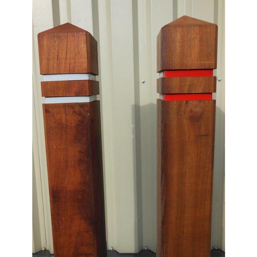 Potelet anti-stationnement bois azobé tête diamant 15 x 15 x 140 cm + 2 bandes réfléchissantes-3