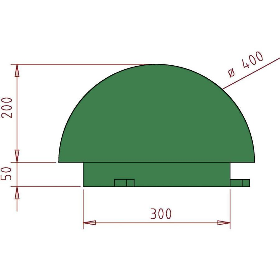 BORNE DEMI SPHÉRE EN FONTE (RAL 6009 - vert)-6