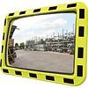 Miroir industrie 600 x 800 mm avec cadres en jaune et noir