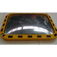 thumb-Miroir industrie 600 x 800 mm avec cadres en jaune et noir-2
