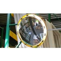 thumb-Miroir industrie Rond 800 mm avec cadres  en jaune et noir-2
