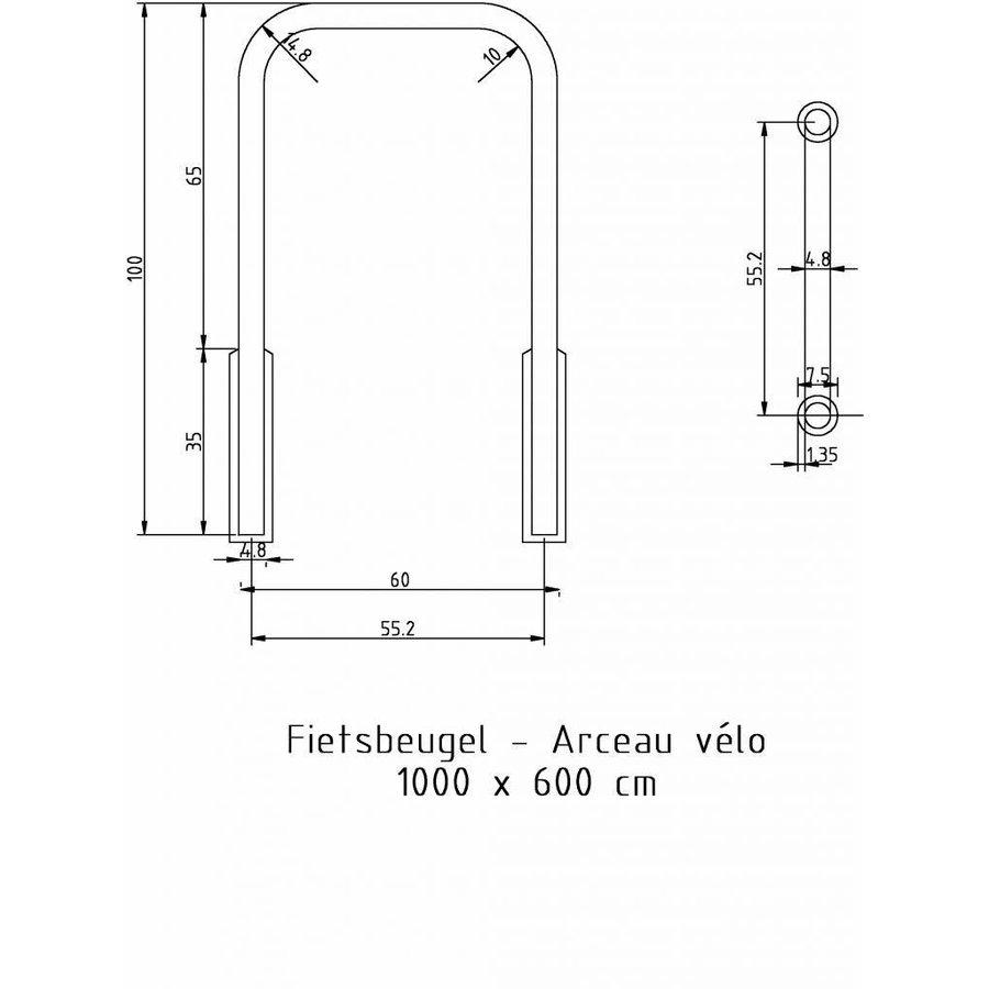 Fietsbeugel U-vorm 600 x 1000 mm gegalvaniseerd staal-7