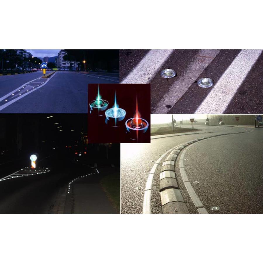 Plot - réflecteur de route en verre trempé - blanc - diamètre 100 mm - hauteur 45 mm-2