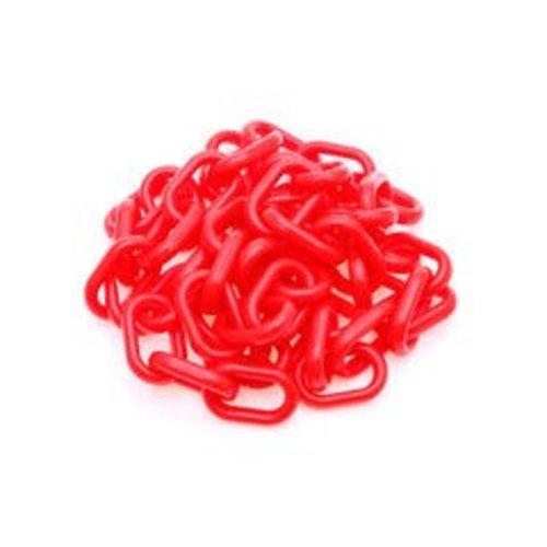 Rode fluor kunststof ketting van 10 meter. Ø  6 mm